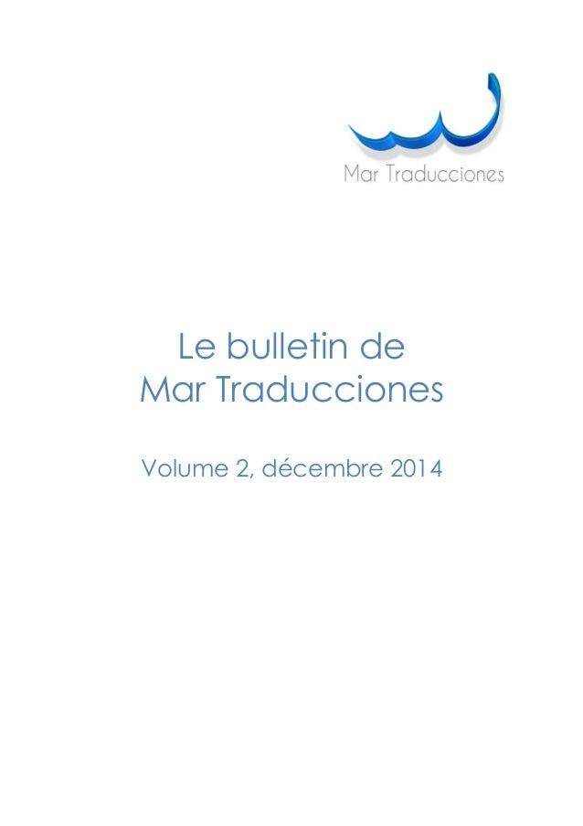 Le bulletin de Mar Traducciones Volume 2, décembre 2014