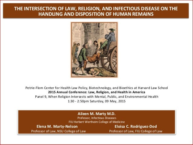 THE	   INTERSECTION	   OF	   LAW,	   RELIGION,	   AND	   INFECTIOUS	   DISEASE	   ON	   THE	    HANDLING	   AND	   DISPOSI...