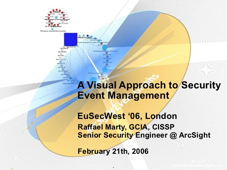 A Visual Approach to SecurityEvent ManagementEuSecWest '06, LondonRaffael Marty, GCIA, CISSPSenior Security Engineer @ Arc...