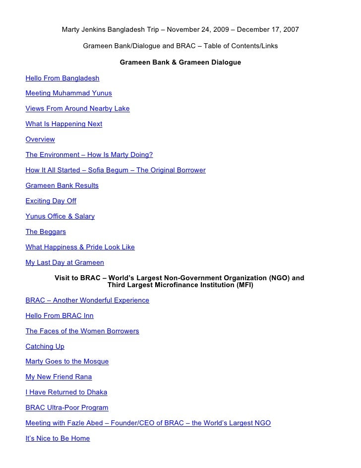 Marty Jenkins Bangladesh Trip – November 24, 2009 – December 17, 2007                     Grameen Bank/Dialogue and BRAC –...