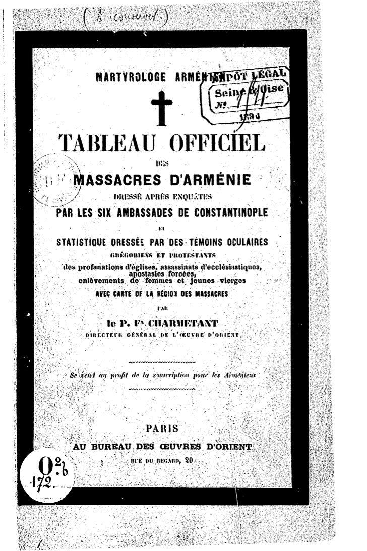 MARTYROLOGE             ARWÉI^SÏP^MpTABLEAU                            OFFICIEL;     MASSACRES                    DARMÉNIE...
