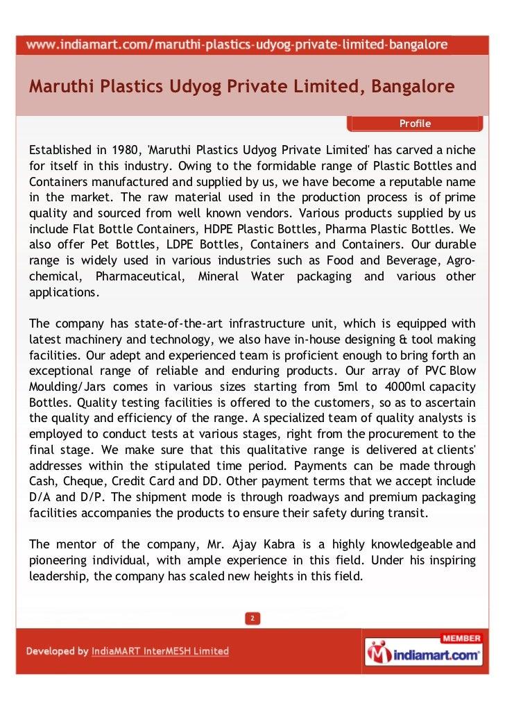 Maruthi Plastics Udyog Private Limited, Bangalore, Bottles