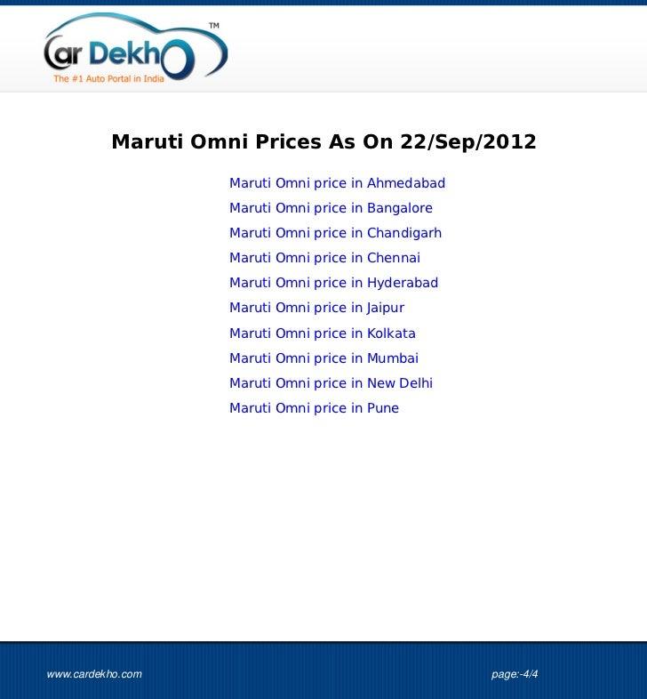 Maruti Omni Prices As On 22/Sep/2012                                                      Maruti Omni price in Ahmedabad  ...