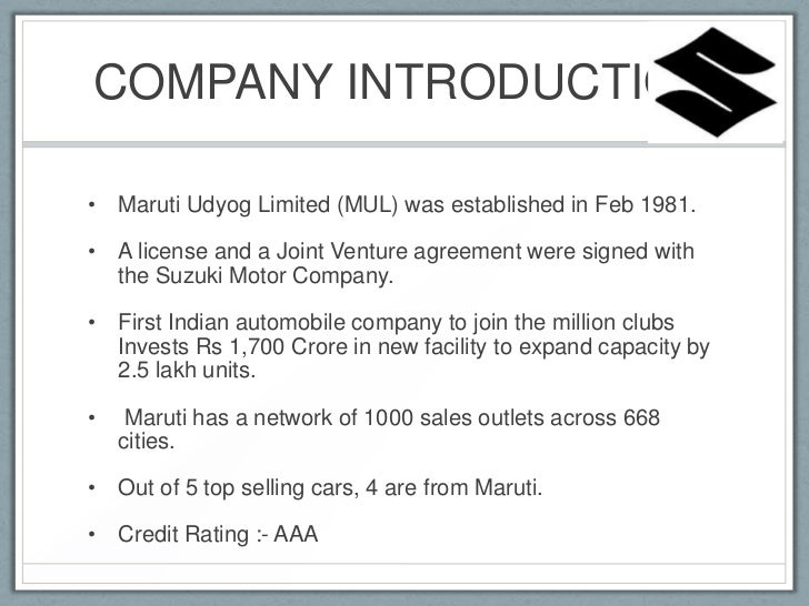analysis of maruti suzuki joint venture Maruti suzuki india limited (maruti) - financial and strategic swot analysis review - provides you an in-depth strategic swot analysis of the company's businesses and operations the profile has been compiled by globaldata to bring to you a clear and an unbiased view of the company's key strengths and weaknesses and the potential.
