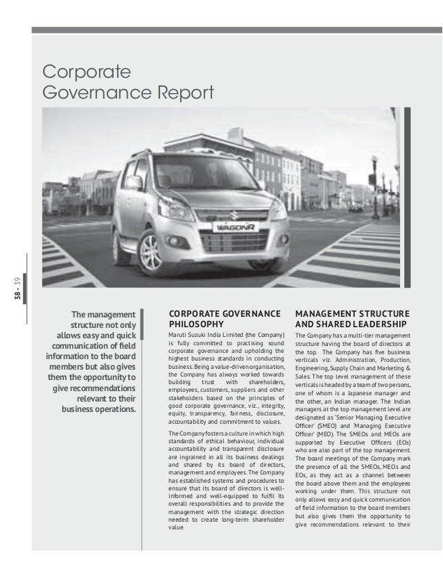 Maruti suzuki corporate governance