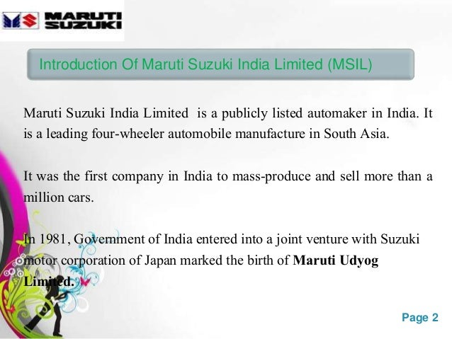 benefits of suzuki and maruti joint venture In 2006 suzuki and maruti set up another joint venture, maruti suzuki maruti suzuki launched maruti finance in there are costs and benefits to.