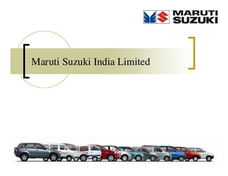 Maruti Suzuki India Limited                              1