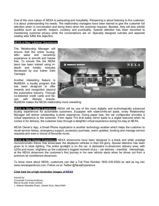 new car dealership press releaseMaruti NEXA dealership  Press Release