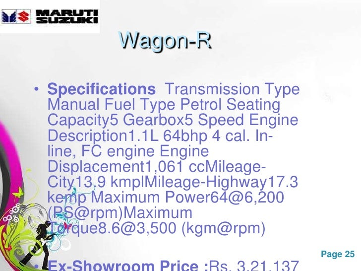 Free manual 1998 suzuki wagon r owner manual ebook best deal gallery maruti suzuki ppt wagon r specifications transmission type manual fandeluxe gallery fandeluxe Images