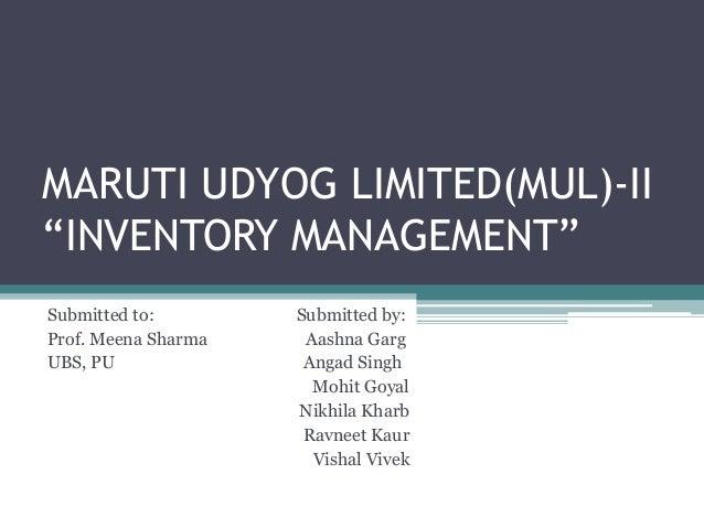 maruti udyog limited case study ppt
