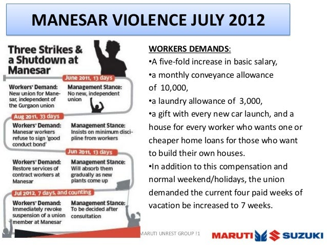 Maruti Suzuki Manesar Plant Strike Reason