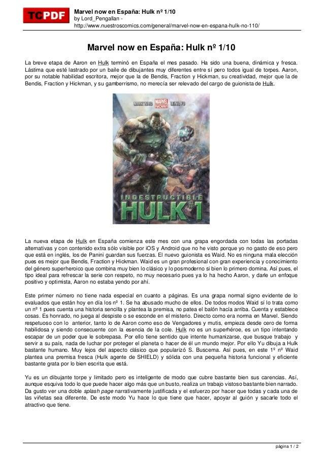 Marvel now en España: Hulk nº 1/10                    by Lord_Pengallan -                    http://www.nuestroscomics.com...