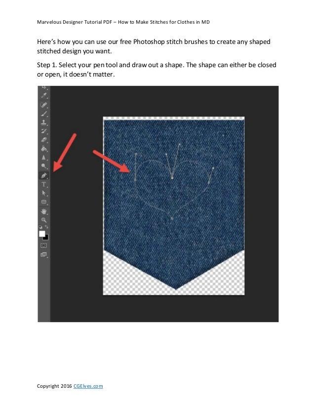 Marvelous Designer tutorial PDF: How to make stitches