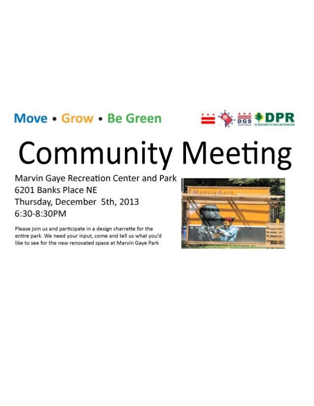 Marvin Gaye Park Community Meeting Flyer