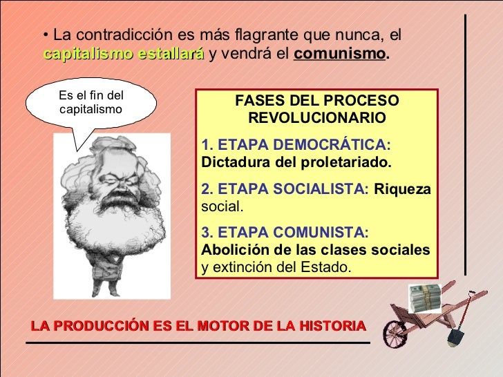 <ul><li>La contradicción es más flagrante que nunca, el   capitalismo estallará   y vendrá el   comunismo . </li></ul>FASE...