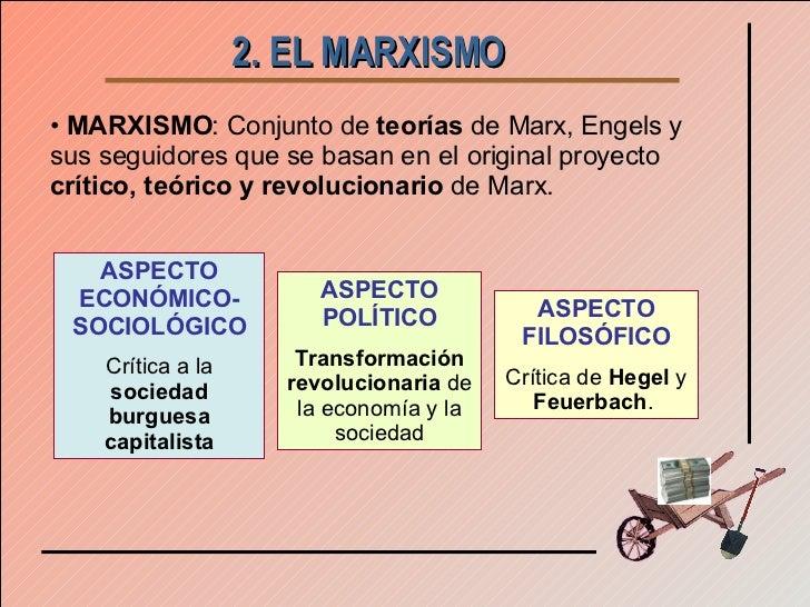 2. EL MARXISMO   <ul><li>MARXISMO : Conjunto de  teorías  de Marx, Engels y sus seguidores que se basan en el original pro...