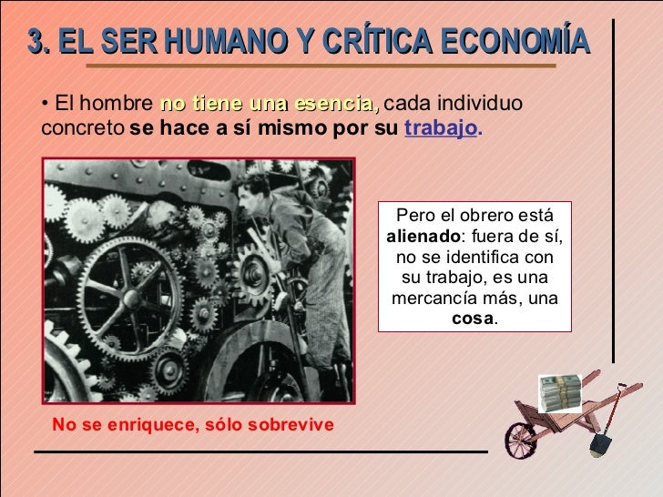3. EL SER HUMANO Y CRÍTICA ECONOMÍA <ul><li>El hombre   no tiene una esencia,   cada individuo concreto  se hace a sí mism...