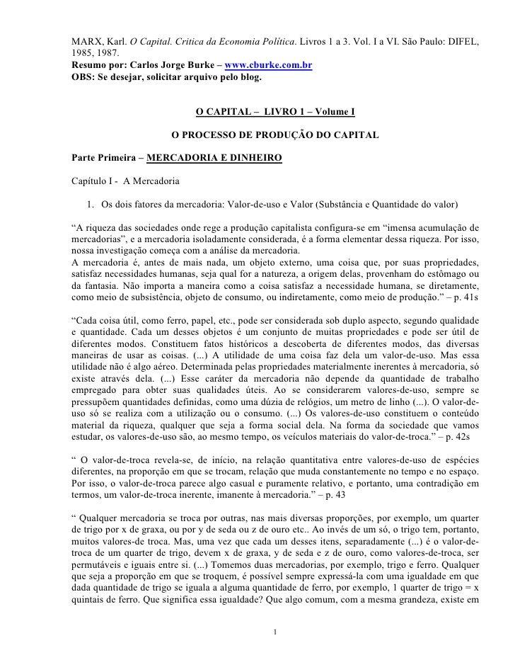 MARX, Karl. O Capital. Critica da Economia Política. Livros 1 a 3. Vol. I a VI. São Paulo: DIFEL,1985, 1987.Resumo por: Ca...