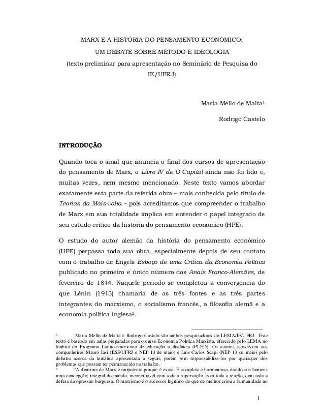MARX E A HISTÓRIA DO PENSAMENTO ECONÔMICO:                  UM DEBATE SOBRE MÉTODO E IDEOLOGIA      (texto preliminar para...