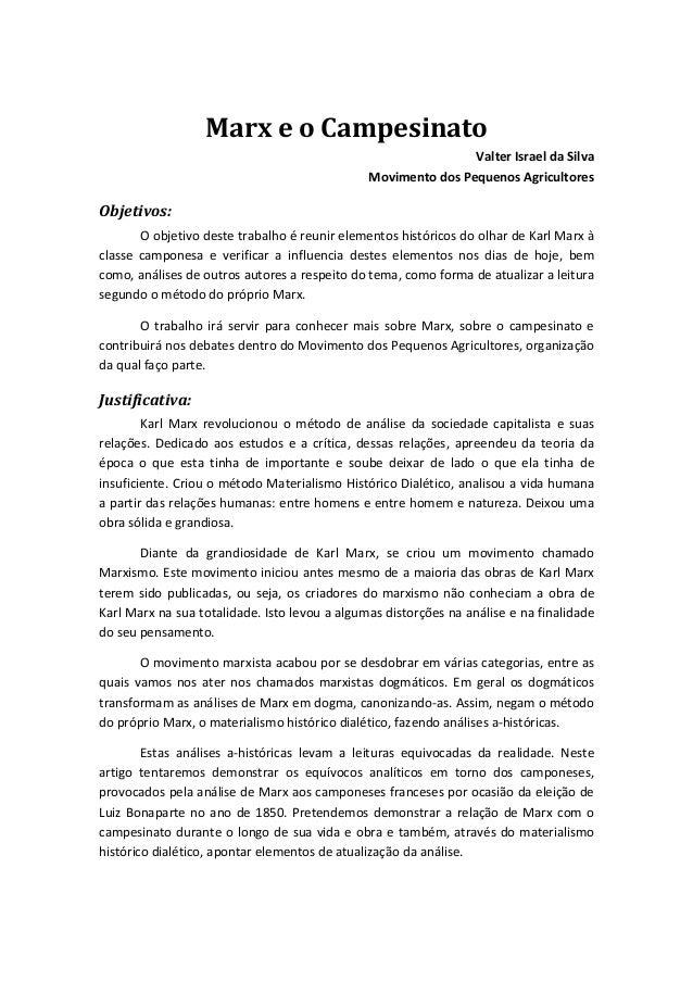MarxeoCampesinato ValterIsraeldaSilva MovimentodosPequenosAgricultores Objetivos:  Oobjetivodestetrabalho...