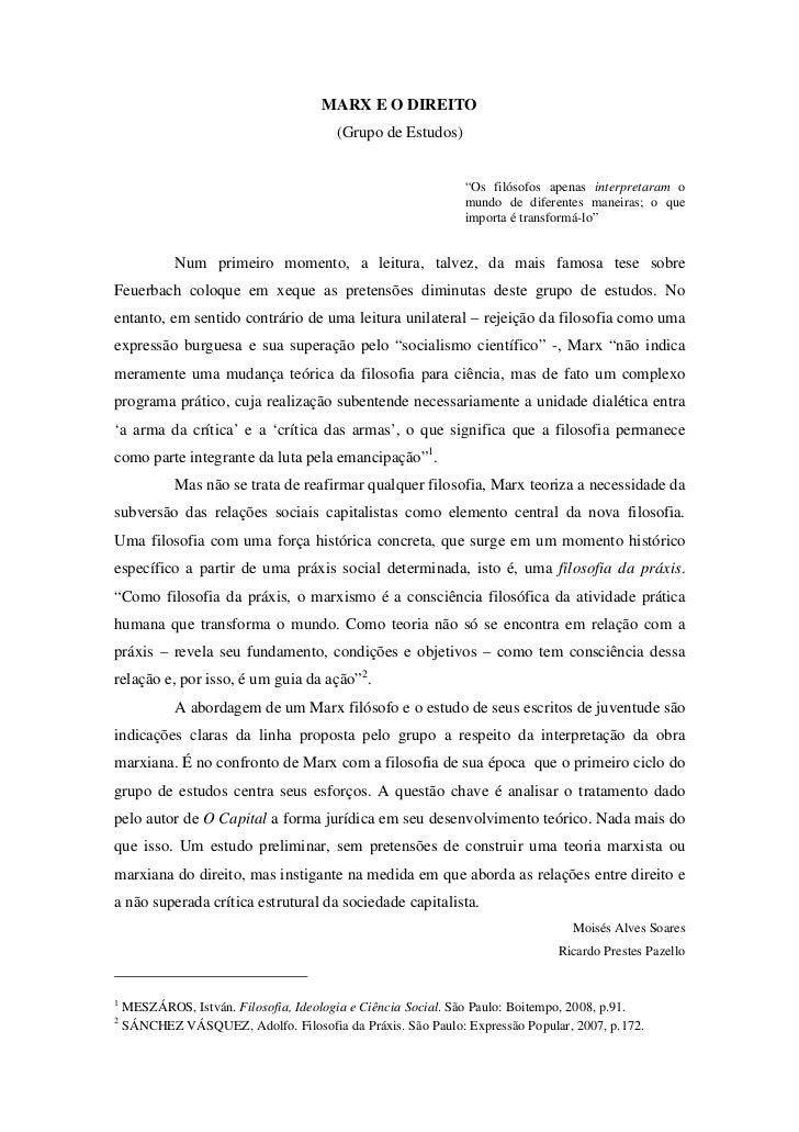 MARX E O DIREITO                                         (Grupo de Estudos)                                               ...