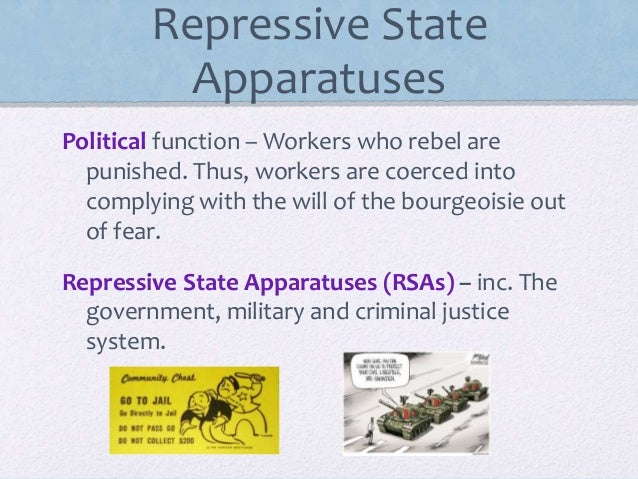 repressive and ideological state apparatus cultural studies essay Unlike repressive state apparatuses (for instance, the police of the military), which explicitly enforce laws or culture, these work via the process of interpellation to compel individuals to conform to particular, class-specific social roles.