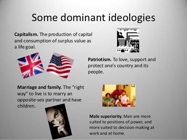 Some dominant ideologiesCapitalism. The production of capitaland consumption of surplus value asa life goal.              ...