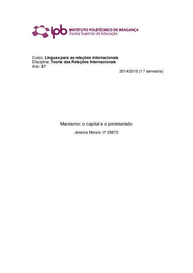 Curso: Línguas para as relações internacionais Disciplina: Teoria das Relações Internacionais Ano: 3.º 2014/2015 (1.º seme...