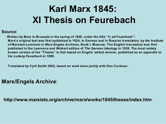 eleven theses on feuerbach summary