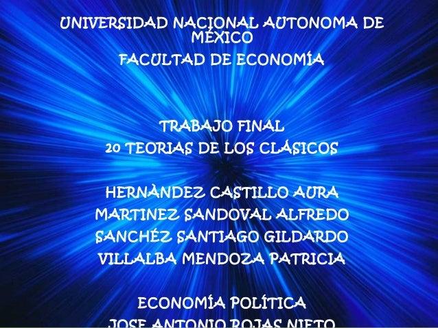 UNIVERSIDAD NACIONAL AUTONOMA DE              MÉXICO     FACULTAD DE ECONOMÍA          TRABAJO FINAL    20 TEORIAS DE LOS ...