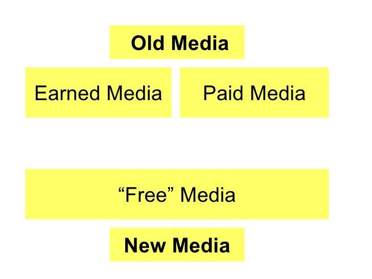 """Earned Media Paid Media Old Media """" Free"""" Media New Media"""
