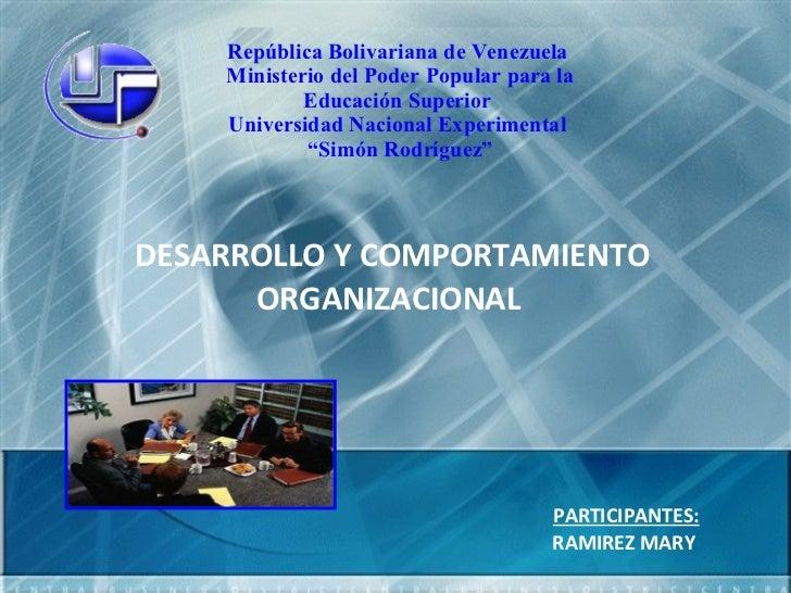 República Bolivariana de Venezuela  Ministerio del Poder Popular para la Educación Superior  Universidad Nacional Experime...