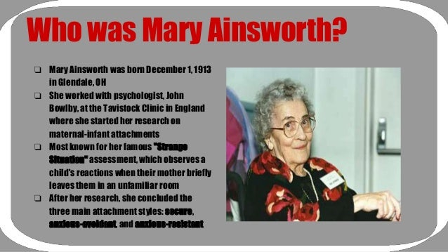 analyzing attachment styles by mary ainsworth Although bowlby was indeed the integrating force behind attachment theory, mary ainsworth a custom essay sample on bowlby's attachment theory secure attachment style attachment and imprinting your testimonials.