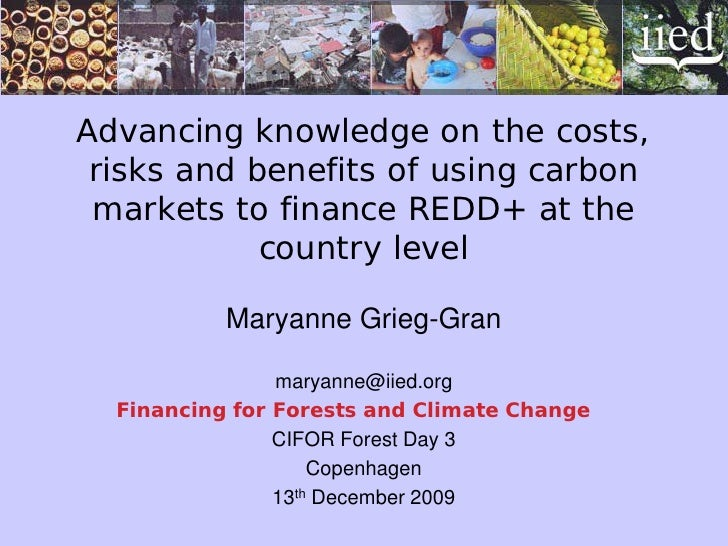Advancing knowledge on the costs,  risks and benefits of using carbon  markets to finance REDD+ at the             country...