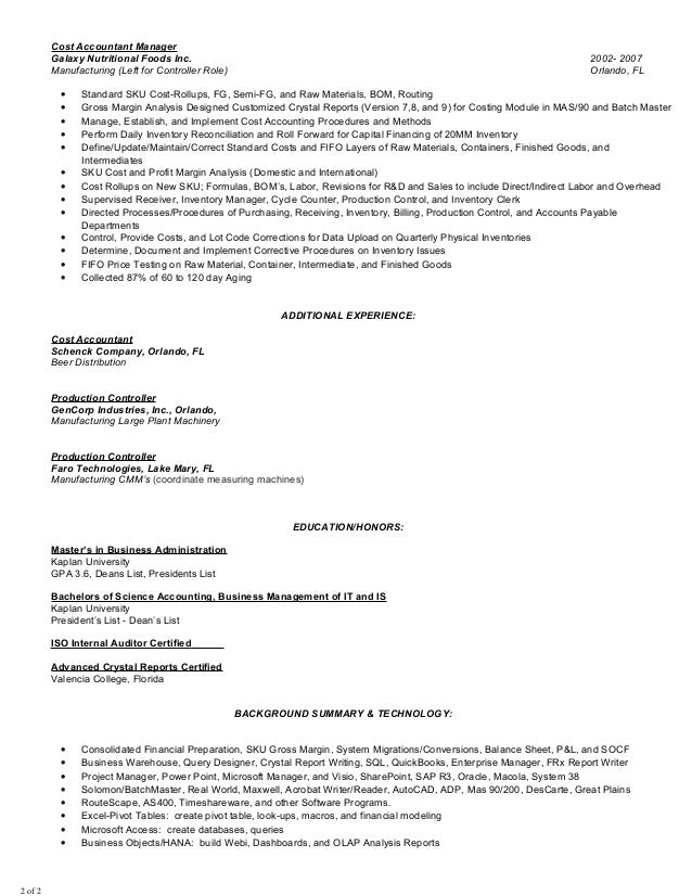 manufacturing cost accountant sample resume professional
