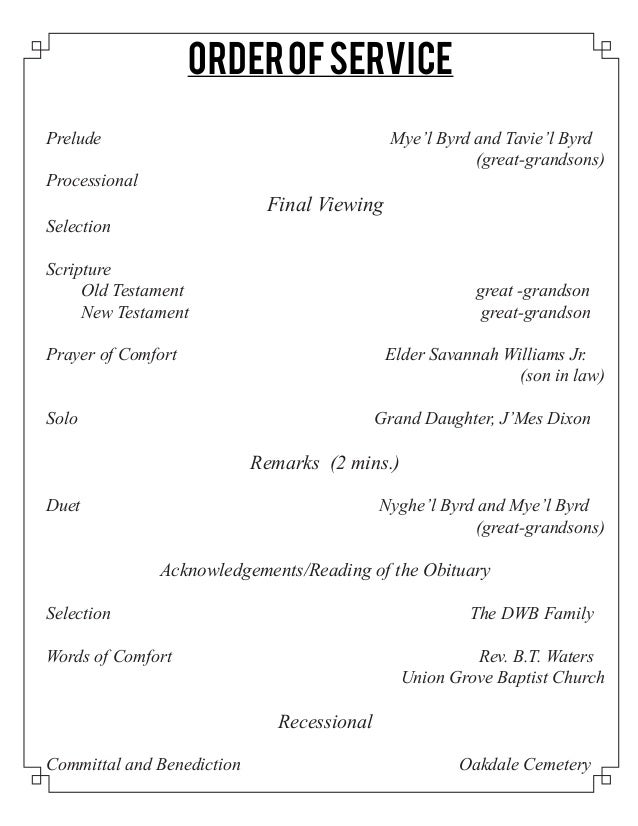 Funeral Program For Mary Elizabeth Shields Clark