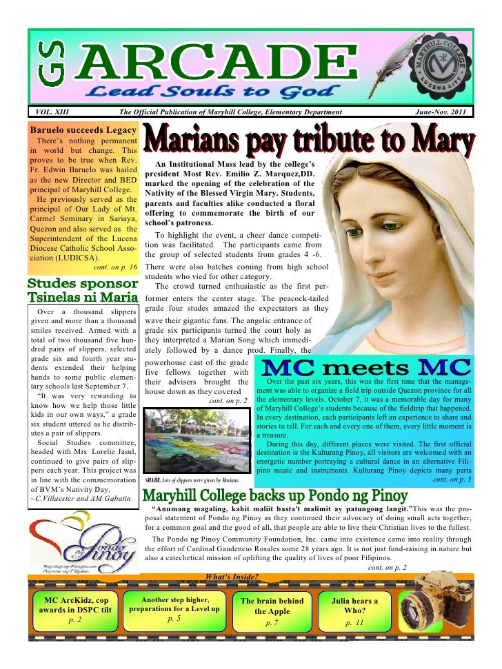 VOL. XIII                    The Official Publication of Maryhill College, Elementary Department                          ...