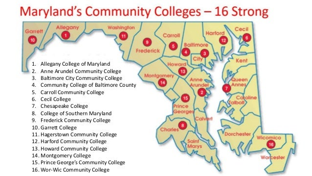 colleges in maryland map Maryland 16 Community Colleges Strong colleges in maryland map
