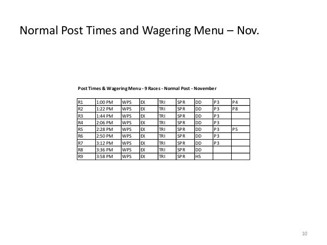 Normal Post Times and Wagering Menu – Nov.  Post Times & Wagering Menu - 9 Races - Normal Post - November R1 R2 R3 R4 R5 R...