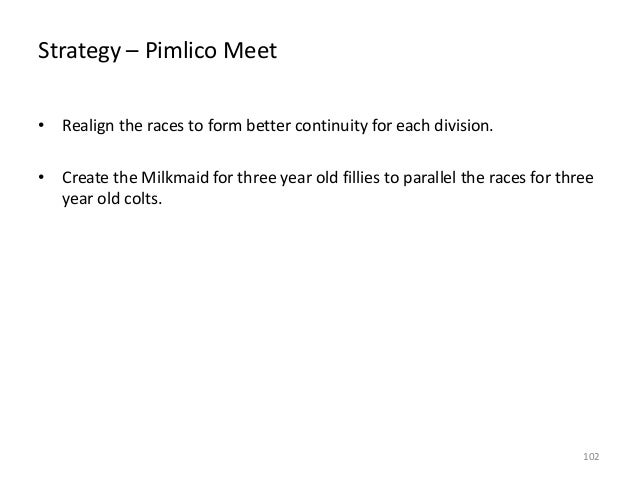 Strategy – Pimlico Meet • Realign the races to form better continuity for each division. • Create the Milkmaid for three y...