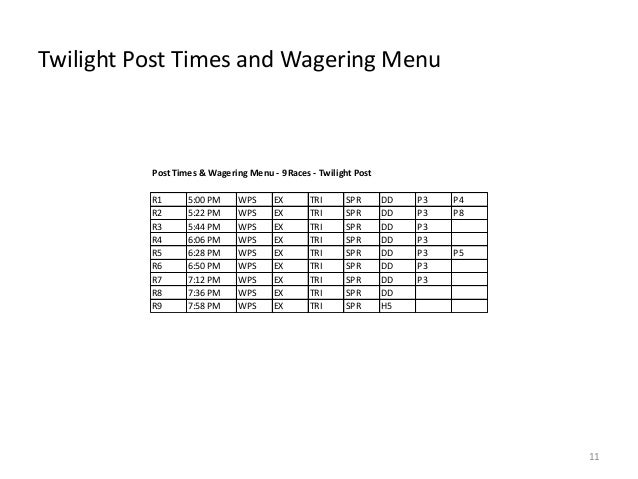 Twilight Post Times and Wagering Menu  Post Times & Wagering Menu - 9 Races - Twilight Post R1 R2 R3 R4 R5 R6 R7 R8 R9  5:...