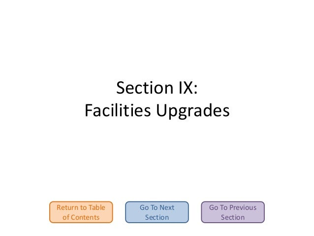 Section IX: Facilities Upgrades  Return to Table of Contents  Go To Next Section  Go To Previous Section