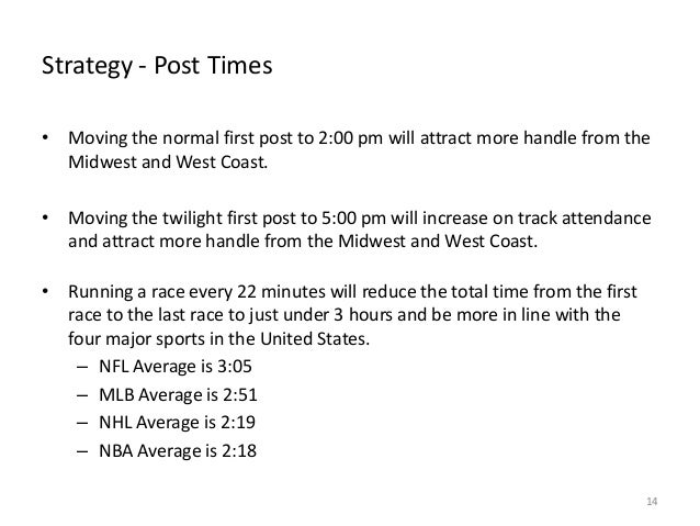 Strategy - Post Times • Moving the normal first post to 2:00 pm will attract more handle from the Midwest and West Coast. ...