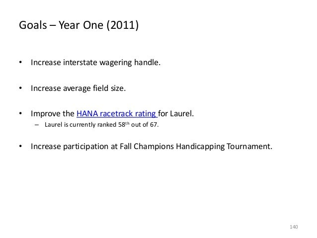 Goals – Year One (2011) • Increase interstate wagering handle. • Increase average field size. • Improve the HANA racetrack...