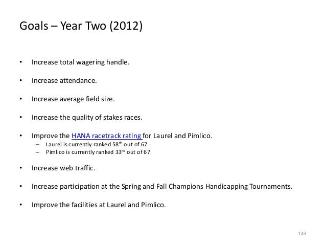 Goals – Year Two (2012) •  Increase total wagering handle.  •  Increase attendance.  •  Increase average field size.  •  I...