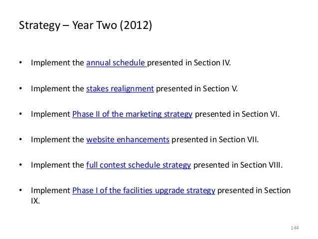 Strategy – Year Two (2012) • Implement the annual schedule presented in Section IV. • Implement the stakes realignment pre...