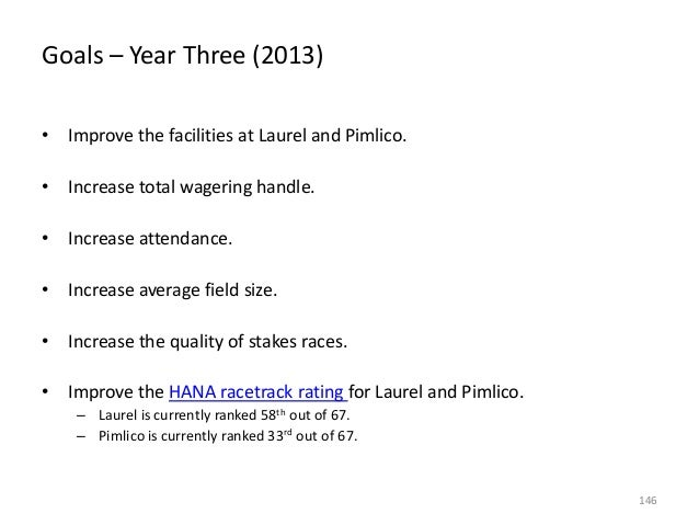 Goals – Year Three (2013) • Improve the facilities at Laurel and Pimlico.  • Increase total wagering handle. • Increase at...