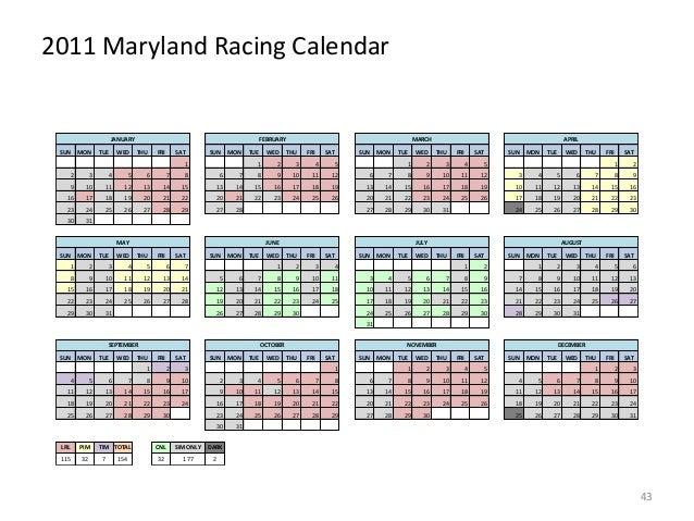 2011 Maryland Racing Calendar  JANUARY SUN  MON  TUE  WED  FEBRUARY THU  FRI  SAT  SUN  MON  1  TUE  WED  MARCH THU  FRI  ...