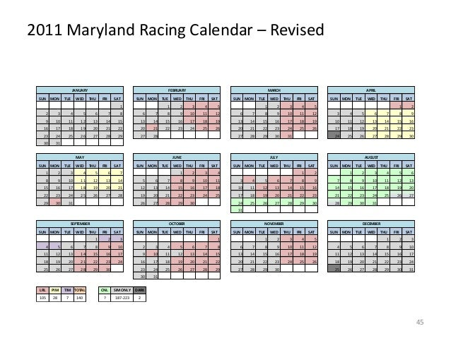 2011 Maryland Racing Calendar – Revised  JANUARY SUN  MON  TUE  WED  FEBRUARY THU  FRI  SAT  SUN  MON  1  TUE  WED  MARCH ...