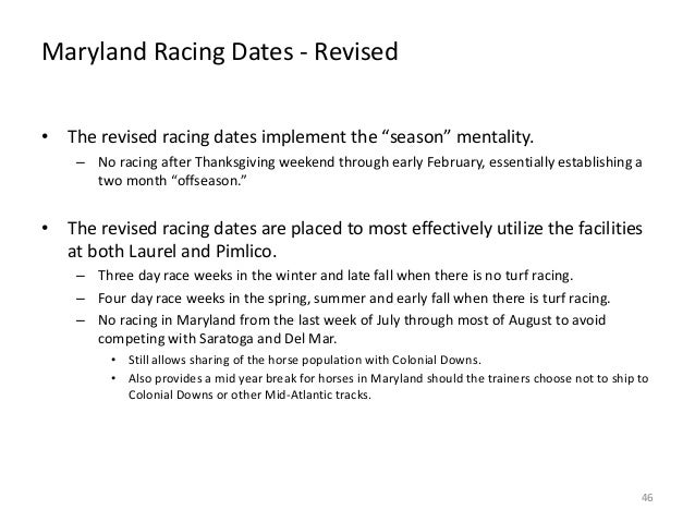 """Maryland Racing Dates - Revised • The revised racing dates implement the """"season"""" mentality. – No racing after Thanksgivin..."""